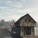 Knight on Guard at the Gatehouse by algoldesigns
