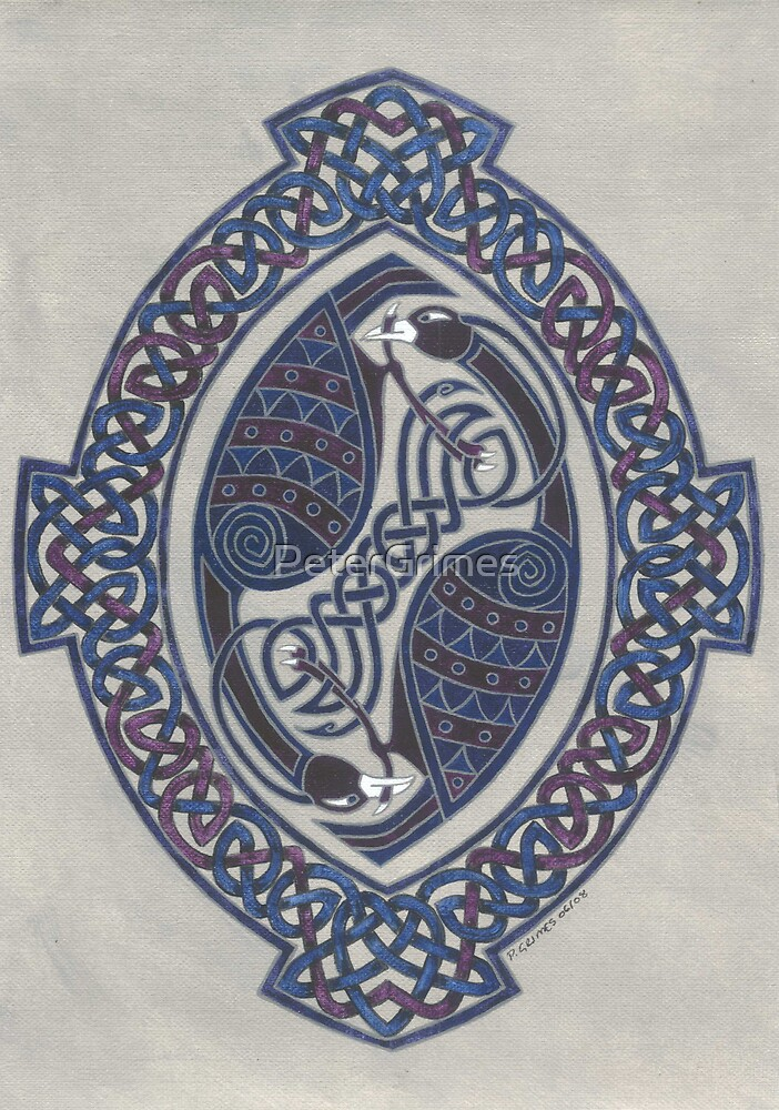 two birds in knotwork oval by PeterGrimes