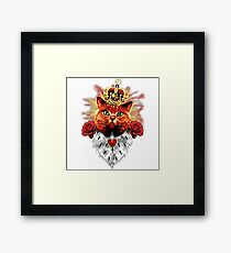 Red Cat King Queen Crown Roses Love Heart Framed Print
