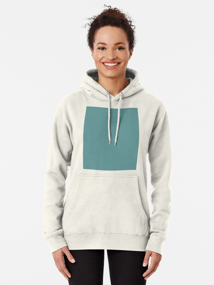 Alternate view of Solid Colour | Desaturated Cyan | Blue |Aqua Pullover Hoodie