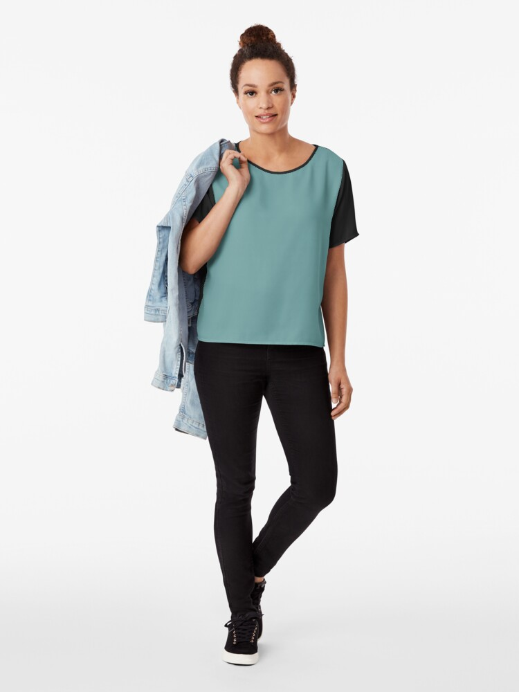 Alternate view of Solid Colour | Desaturated Cyan | Blue |Aqua Chiffon Top