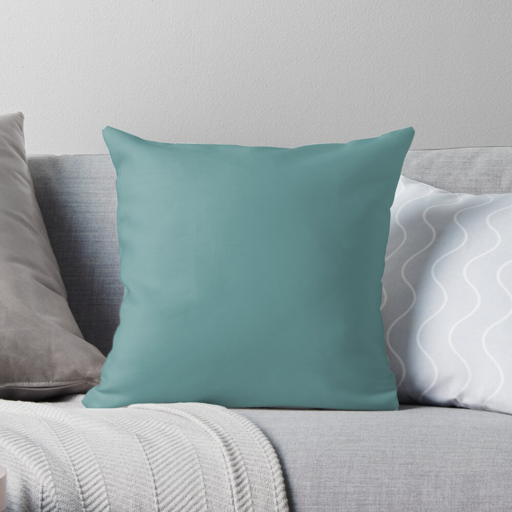 Solid Colour | Desaturated Cyan | Blue |Aqua Throw Pillow