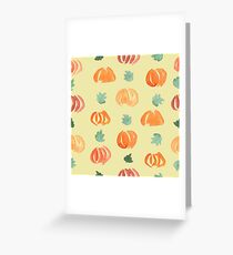 Pumpkins with Leaves on Gold Greeting Card