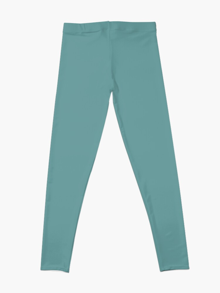 Alternate view of Solid Colour | Desaturated Cyan | Blue |Aqua Leggings