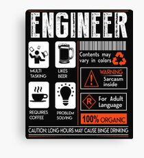 Definition Of Engineer Funny Engineer Gear Canvas Print