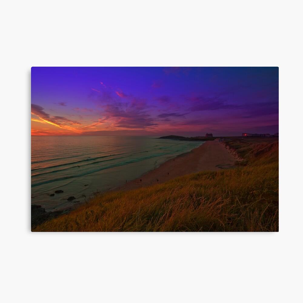 Newquay, Fistral Beach, Strand Sonnenuntergang Leinwanddruck