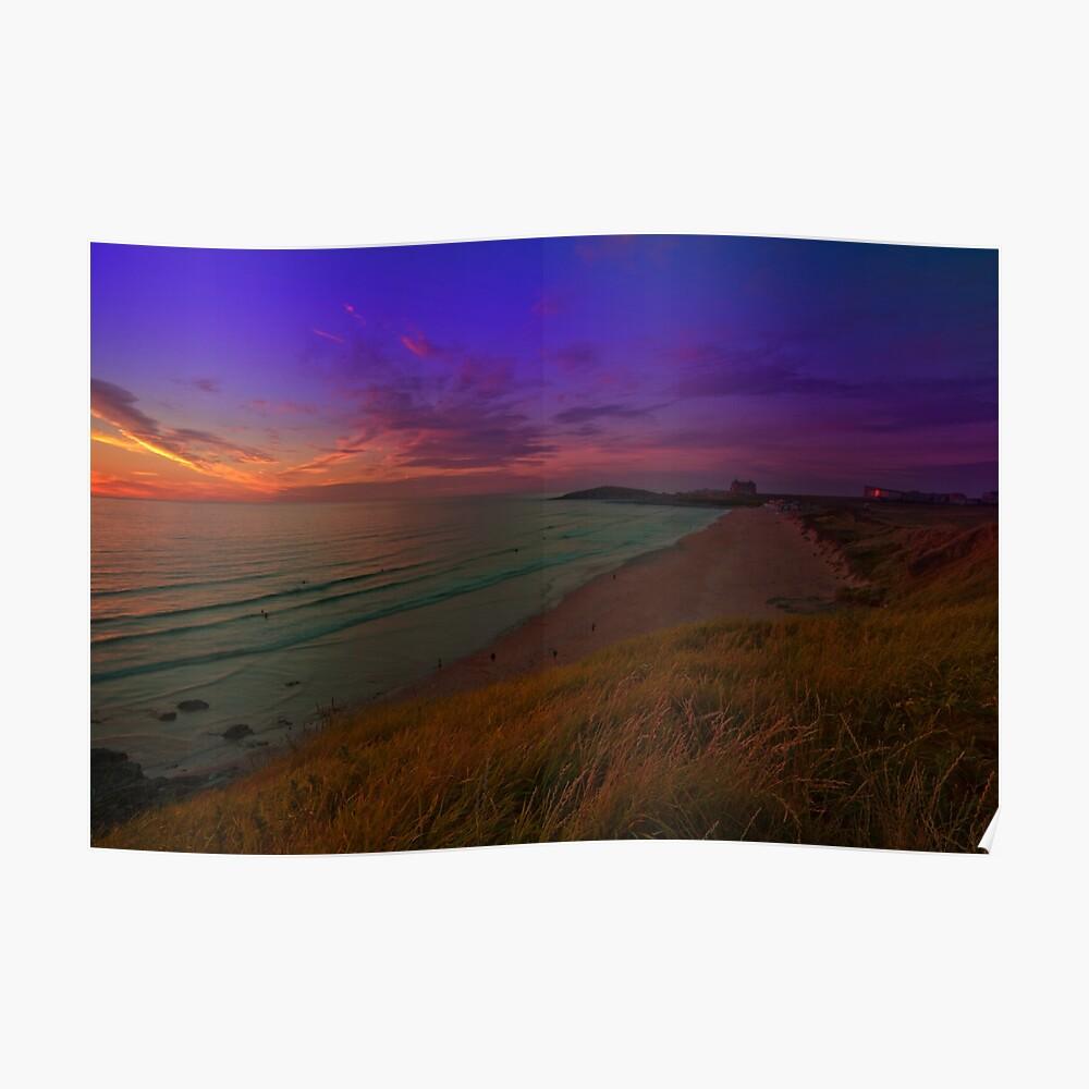 Newquay, Fistral Beach, Strand Sonnenuntergang Poster