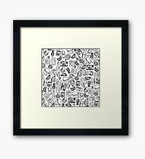 Girly/ Fruit/ Summer Vibes Black and White Pattern Framed Print