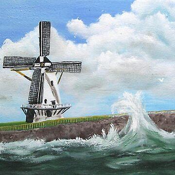 WindMill at stormy weather ..............kj's way by kjgordon