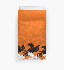 Orange dirt bike motocross racing Duvet Cover