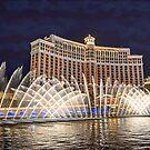 USA. Nevada. Las Vegas. Bellagio Fountains Show. Night. by vadim19