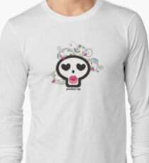 Pucker up skull heart eyes flowers Valentines Day T-Shirt