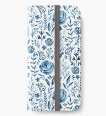 Blue flowers pattern iPhone Wallet/Case/Skin