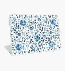 Blaues Blumenmuster Laptop Folie