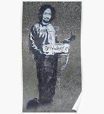 BANKSY, Graffiti Artist, Street Artist, Stencil of Charles Manson in a prison suit, hitchhiking to anywhere, Archway, London Poster