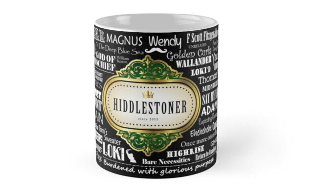 Hiddlestoner Mug - Tom Hiddleston (Black) by Patty's Graphiques