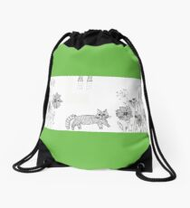 flowers graphic and cat Drawstring Bag