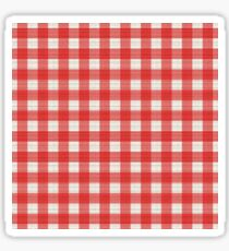 Italian Table Cloth Pattern - Red & White Cross Checkers Sticker