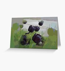 abstract of Black Tulips Greeting Card