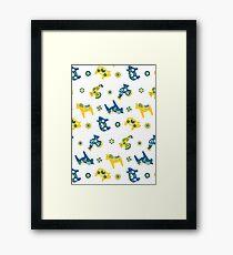 Swedish Dala Animal Farm - Blue Yellow Framed Print