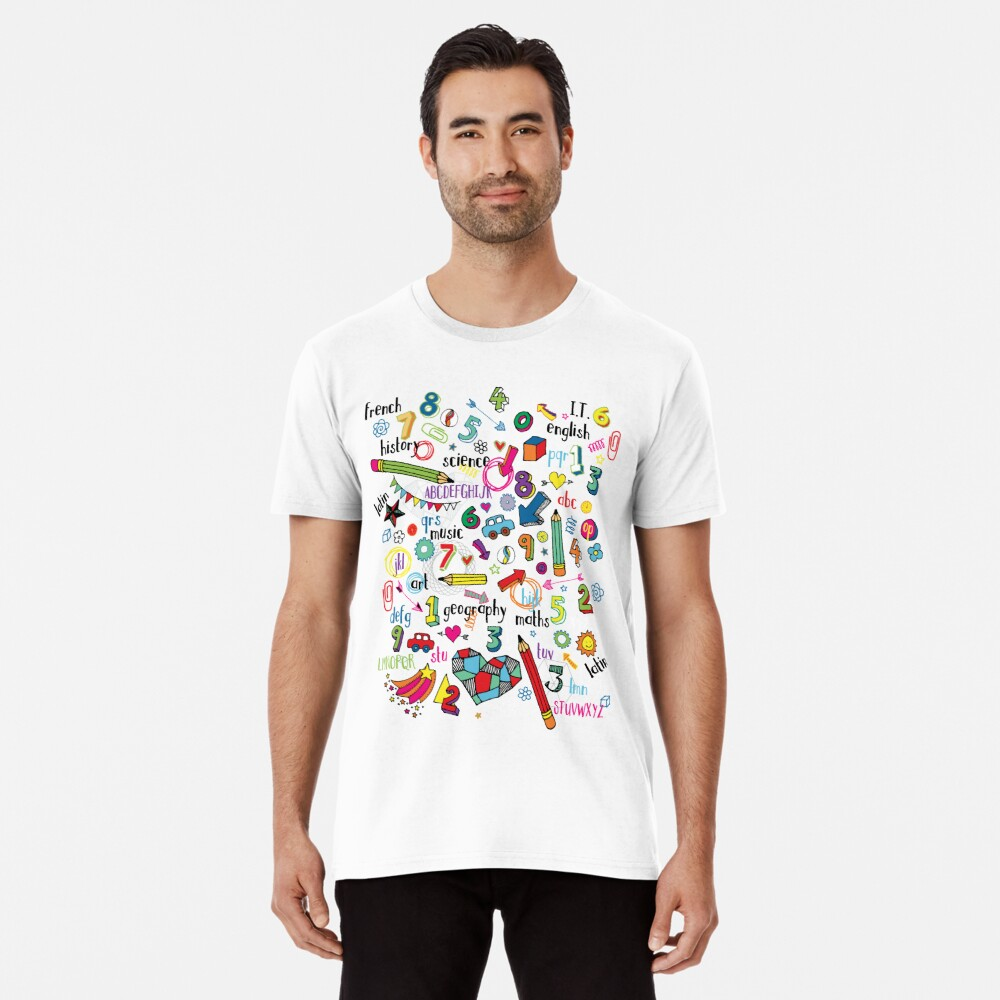 Back to School - fun pattern by Cecca Designs Men's Premium T-Shirt Front