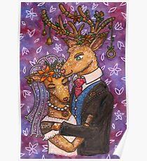 Deer Wedding Bride Groom Couple Poster