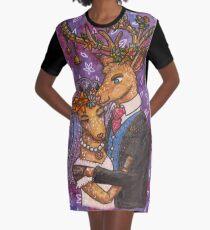 Deer Wedding Bride Groom Couple Graphic T-Shirt Dress