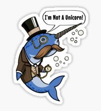 Narwhal Fish Not A Unicorn Funny Ocean Gentleman Sticker