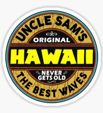 SURFING HAWAII THE BEST WAVES SURF SURFER UNCLE SAM'S WAX Sticker