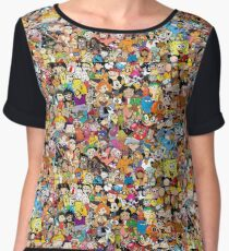 Collage of 90's and 2000's cartoons from Nickelodeon, Disney Channel, Cartoon Network, Jetix, Disney XD, and more Women's Chiffon Top