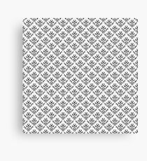 Damask Brocade in Monochrome Black and White Canvas Print