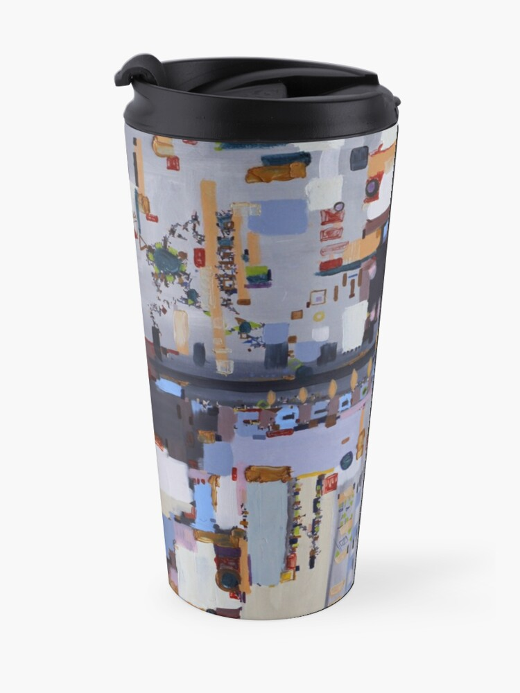 Alternate view of Gridlock, abstract oil on canvas Travel Mug