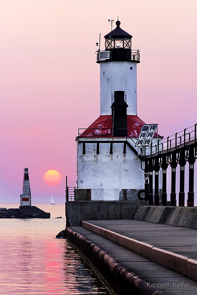Michigan City Light and Sundown Sailboat by Kenneth Keifer