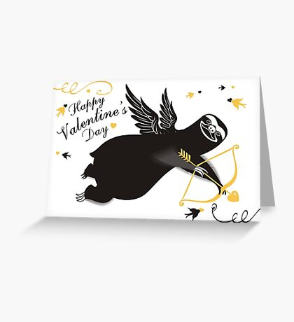 Funny sloth cupid bow arrow Valentines Day Greeting Card
