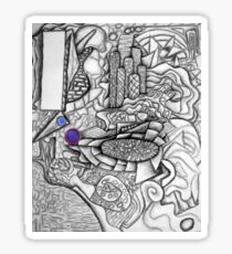 Urban Tapestry, abstract, pastel on paper Sticker