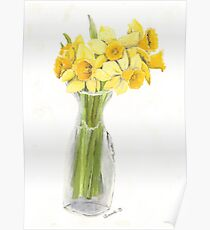 Daffodil Bouquet, Yellow Flowers, Birds and Berry Studio Poster