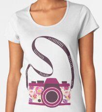 Watercolor floral camera Women's Premium T-Shirt