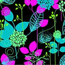 Foliage Fuchsia & Teal [iPhone / iPod Case and Print] by Didi Bingham