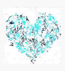 blue heart shape abstract with white abstract background Photographic Print