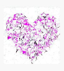 pink heart shape abstract with white abstract background Photographic Print
