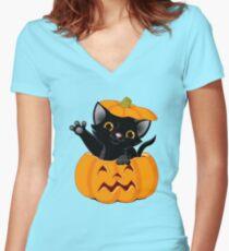 Black Kitten Popping out of Pumpkin Women's Fitted V-Neck T-Shirt