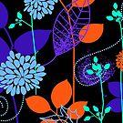 Foliage Indigo & Orange [iPhone / iPod Case and Print] by Damienne Bingham