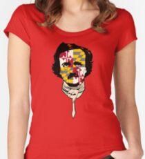Edgar Allan Poe flag face Women's Fitted Scoop T-Shirt