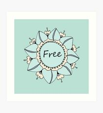 I Feel Free - Soft Light Blue Nouveau Bohemian Mandala Art Print