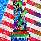Statue Of Liberty And Stripes by Jeremy Aiyadurai