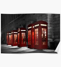 Red Phone Boxes on Black and White Poster