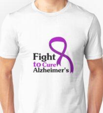Alzheimers Disease Purple Ribbon Fight Unisex T-Shirt