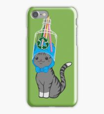 Grey Tabby Wears Recycled Plastic Hat iPhone Case/Skin