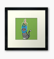 Grey Tabby Wears Recycled Plastic Hat Framed Print