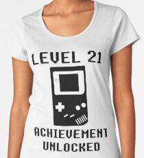 LEVEL 21 ACHIEVEMENT UNLOCKED Console retro video games 21st birthday Women's Premium T-Shirt